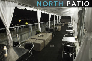 North Patio Features of Panorama Lounge - Toronto best restaurant for toronto's best view, highest restaurant patio, best cocktails, best brunch, most romantic spot, fine dining, best catering, best romantic restaurant, best skyview located at yorkville, downtown toronto voted as best restaurant toronto